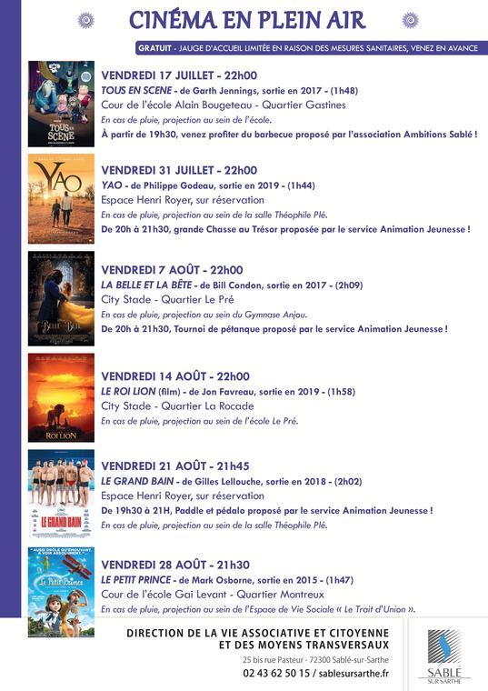 AFFICHE Cinéma en Plein Air 2020