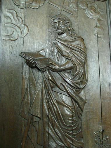 Aisne, RIBEMONT. Panneau sculpté, église Saint-Pierre-Saint-Paul. Emilie MARTIAL bis