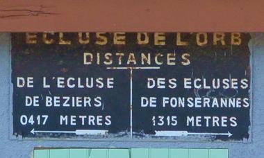 DISTANCES ECLUSE DE L'ORB - BEZIERS