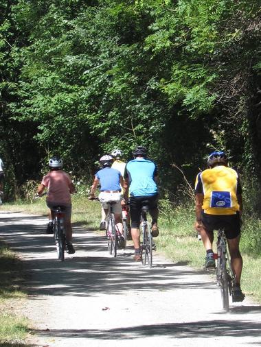 Groupe de cyclistes sur la voie verte