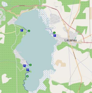 Itinéraire possible et lieux d'observation sur l'étang de Lacanau