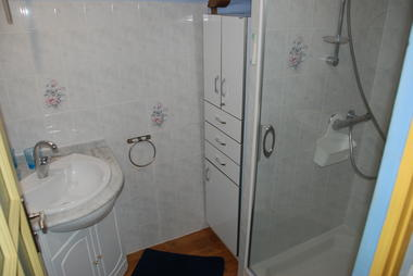 Salle de bain avec vasque/meuble et grande douche avec paroi