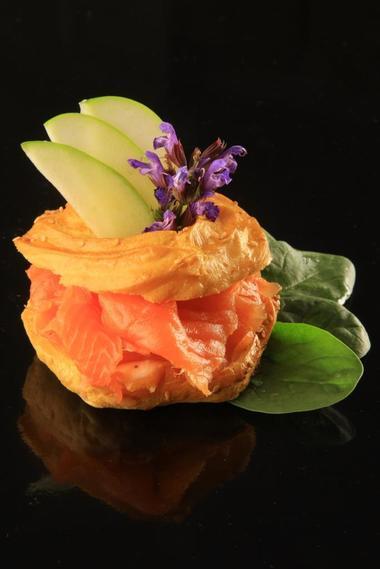 restaurant le Chateau-Rocamadour-Gougère au saumon