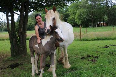 La propriétaire avec les chevaux