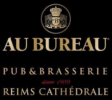 Logo Au Bureau Pub Brasserie Reims Cathe´drale - Fond noir