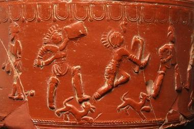 Gladiateurs, détail vase sigillée de la Graufesenque - Millau