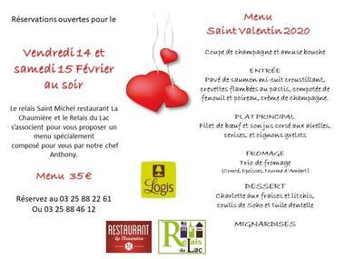champagne 52 villegusien le lac manifesations menu saint valentin 2020 relais saint michel et relais du lac.