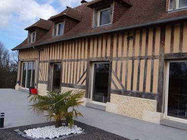 Domaine des Monts Flambards Chez Patricia Roselier Gite à Saint-Martin-de-la-Lieue Terrasse