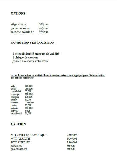Tarifs location de vélo Cy'Glon page 2