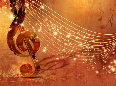 Music background grunge with abstract musical staff