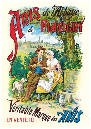 Affiche du berger et de la bergère à la fontaine