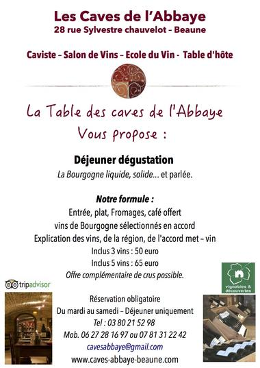 flyer table d''hôte