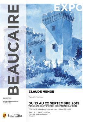 Affiche expo Beaucaire Claude MENGE jusqu'au 22 septembre 2019.jpg