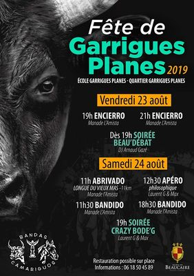 Affiche Fête Garrigues Planes à Beaucaire jusqu'au 24 août.jpg