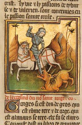 St Georges terrassant le Dragon, enluminure de la l+®gende dor+®e, -® Ch Henneghien.JPG