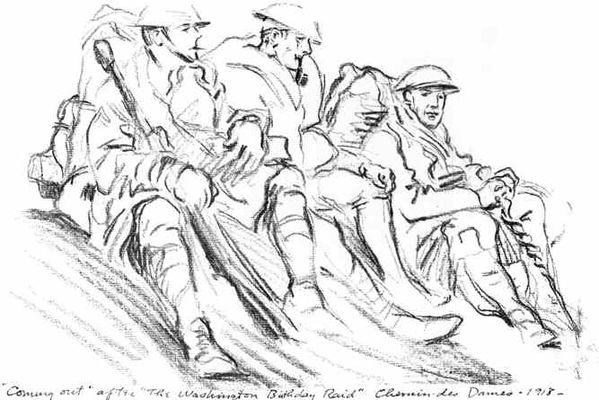 Monument de la 26e Yankee Division dessin de Cyrus Leroy Baldridge 2015 IV < Braye-en-Laonnois < Aisne < Picardie