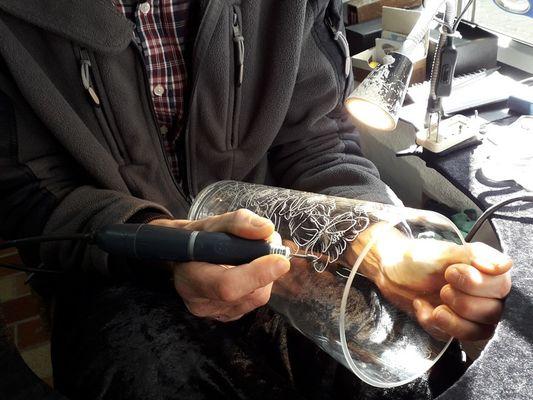 Gravure sur verre - Artisan d'art - Josselin - Morbihan - Bretagne