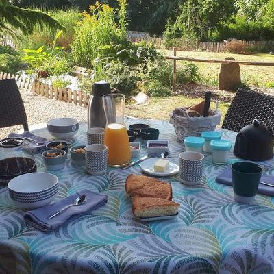 Petits déjeuners servis sur la terrasse
