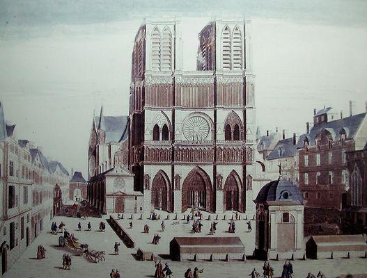 ND-de-Paris-parvis-et-fontaine-vers-1740