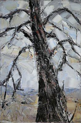 Arbre en hiver, février 2016, huile sur toile, 146 x 97 cm - Artuoz Chartres