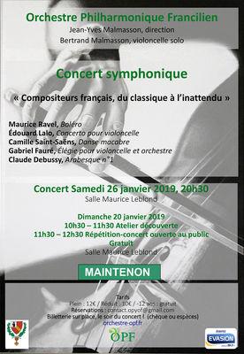 Orchestre Philarmonique Francilien Jean-Yves Malmasson, direction  Bertrand Malmasson, violoncelle solo
