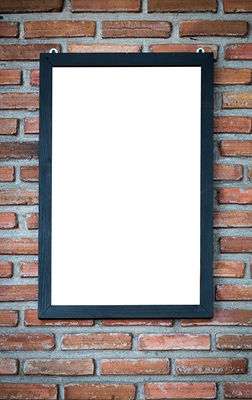 Wood frame on a brick wall