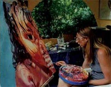 COM -Olargues -Artiste Peintre -  Els - La Peintre à l'oeuvre