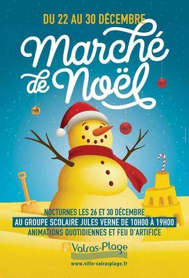 affiche marché de Noël Valras-Plage