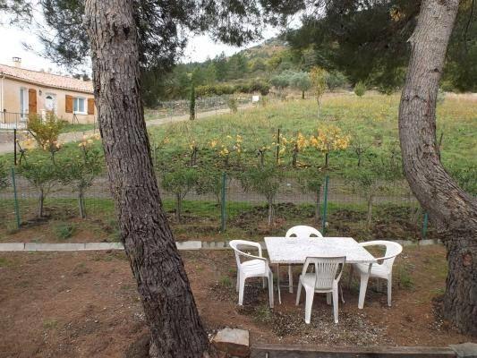 Vue sur le salon de jardin et vignoble environnant.