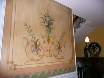 Belle fresque de la fin du XVIIIé dans l'entrée de la maison de maître