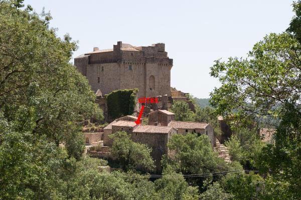 Le chateau et le hameau, au 1er plan, le gîte