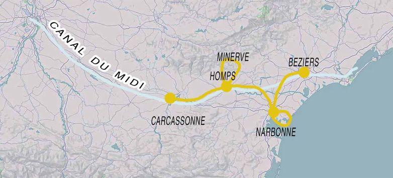 Exemple d'un de nos circuits à vélo le long du Canal du Midi.