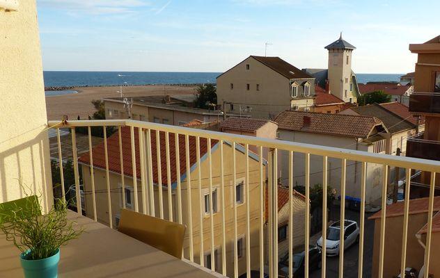 Vue depuis la terrasse - Valras-Plage
