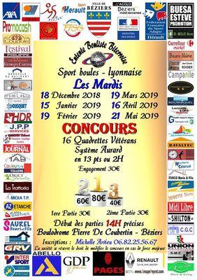 2018-12-18 au 21 mai 2019 concours sport boule quadrettes vétérans