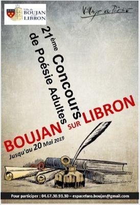 2019- jusqu'au 20 mai concours poésie Boujan sur Libron