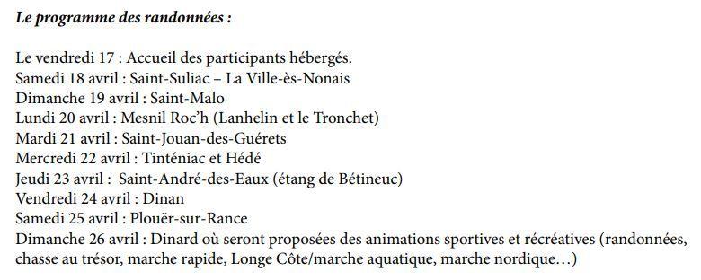 Rando Bretagne - Programme 2020