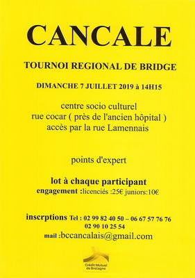 Tournoi de Bridge 7juil19