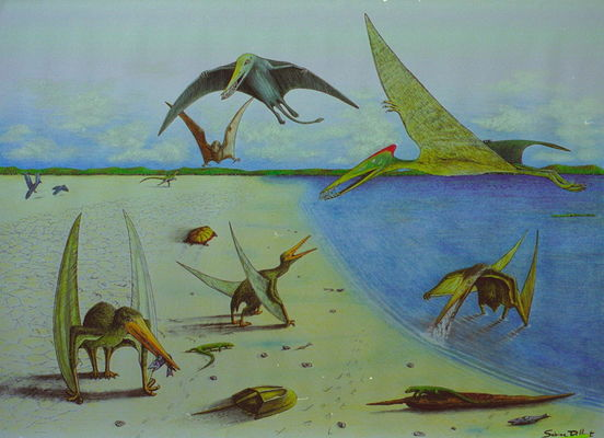 Crayssac : Réprésentation site Paléontologique la Plage aux Ptérosaures