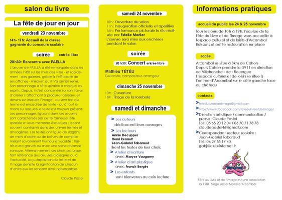 Fête du Livre Arcambal Programme 25 nov (1)