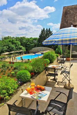 Hotel le Chateau-Rocamadour-Terrasse et piscine