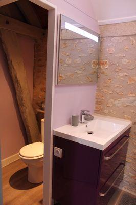 Une partie de la salle de douche du gite.
