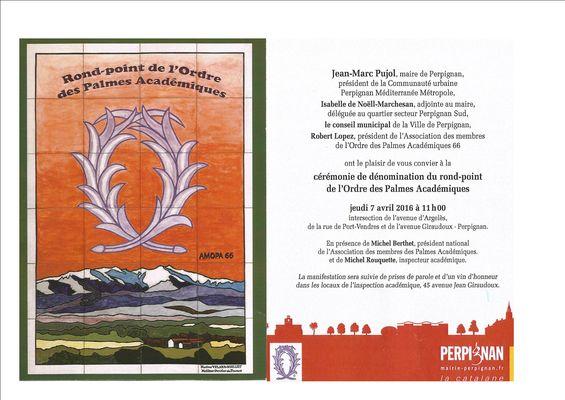 invitation-inauguration-rond-point Panneau Palmes Académiques