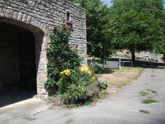 L 'espace privé devant l'entrée du studio