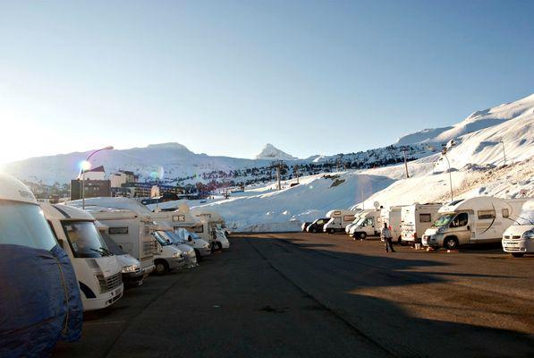 Aire de camping-cars de la Pierre Saint-Martin - Hiver