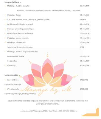 LINXE_Massage By M_Tarifs