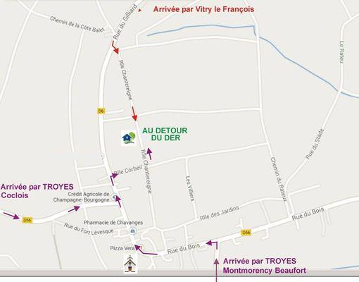 Chavanges-Au détour du Der Plan d'accès