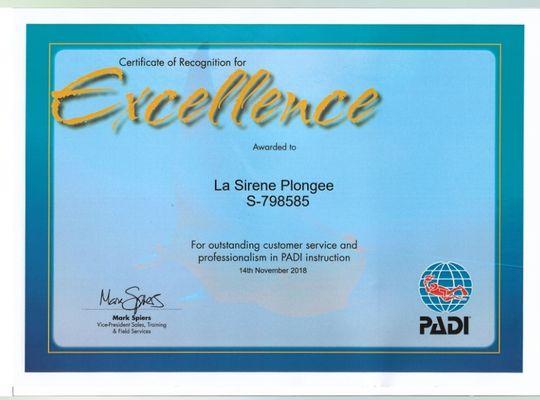 award excellence Sirene plongee