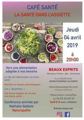 CAFÉ SANTÉ LA SANTÉ DANS L'ASSIETTE - Fontenay-le-Comte - 85200 -2