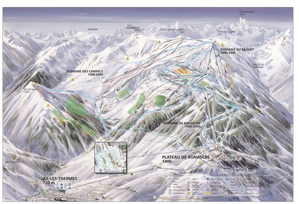plan des pistes de la station Ax 3 domaines