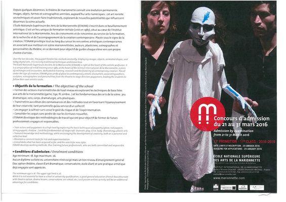 Concours d'admission à l'Ecole Nationale Supérieure des Arts de la Marionnette